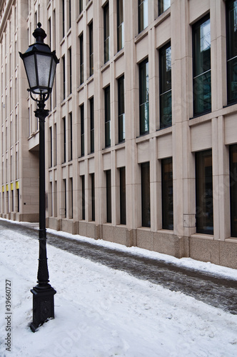 streetlamp in the snow