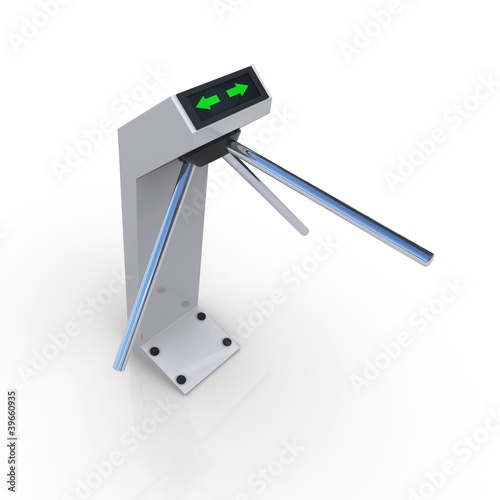 Turnstile white forbidding passage. 3D rendering