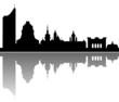 Leipzig Skyline Spiegelung Vektor