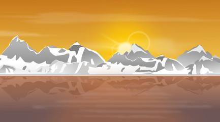 Berge Vektor - Sonnenuntergang