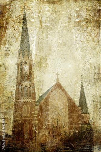 Church on grunge background