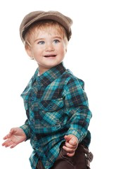 Cute funny little boy isolated on white.