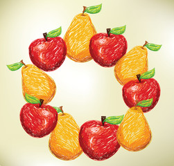 fruit set, vector illustration