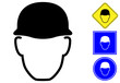Safety helmet pictogram and icons