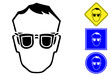 Safety glasses pictogram and signs