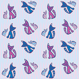 Seamless retro Cats kids pattern wallpaper background in vector