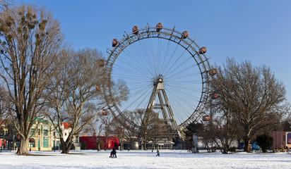 Historic ferris wheel of Vienna in winter