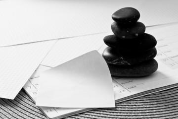 paper, zen stones: business metaphor (your text in memo)