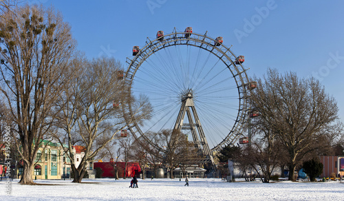 Historic ferris wheel of Vienna in winter