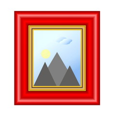 red frame with landscape, illustration