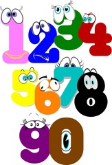numbers set with eyes in cartoon style