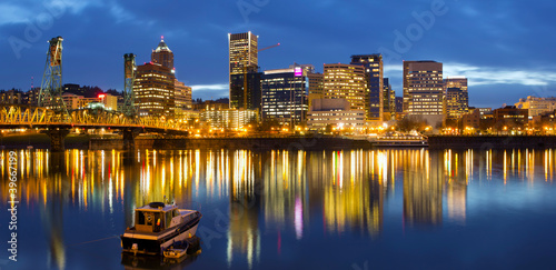 Portland Oregon Downtown Waterfront at Blue Hour