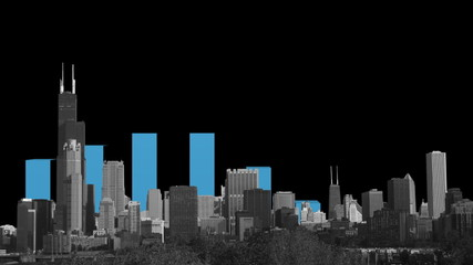 Chicago skyline with graph animation