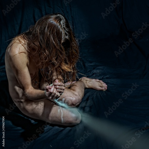 Girl Prisoner in Black Background