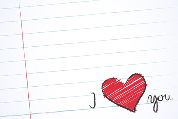 Love note in an exercise book