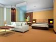 3d bedroom and living-room rendering