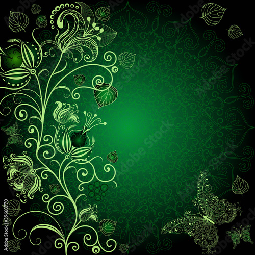Dark green floral frame