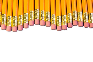 Row of pencil erasers arranged in parallel