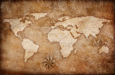 grunge world map background with rose compass