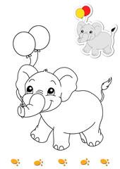 animali da colorare, elefante