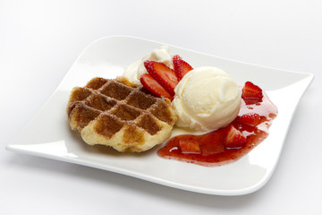 Waffle with scoop of ice cream