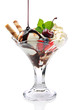 Ice cream in glass bowl with chocolate sauce and cherry