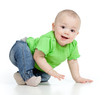funny baby goes down on all fours