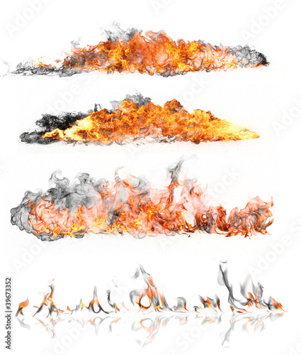 In de dag Vuur / Vlam High resolution fire collection isolated on white background