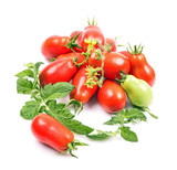 Close-up variety ripened red tomatoes