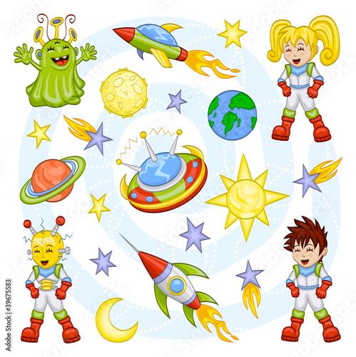 Fototapeta Cartoon outer space set