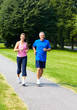 Seniors couple jogging.