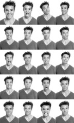 Young man face expressions composite black and white