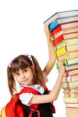 Schoolgirl with the falling pile of books