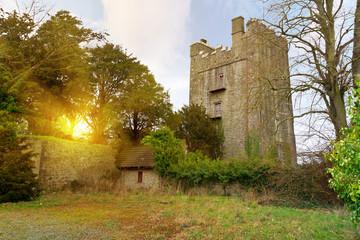 15th century Foulksrath Castle at sunset, Ireland