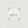 Restaurant menu design, with food icons background