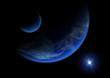 Astronomie - 002 - Erde - Mond - blau