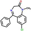 Medication diazepam structural formula