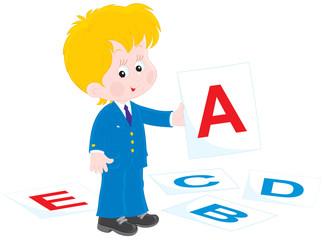 Schoolboy at lesson English