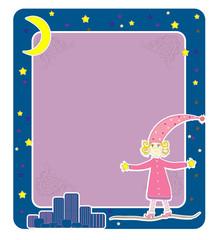 Girl in pajamas Card