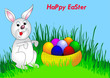 easter background with egg and amusing rabbit