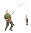Full length portrait of a mature fisherman catching a fish
