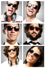 young people enjoying wearing sunglasses over grey background