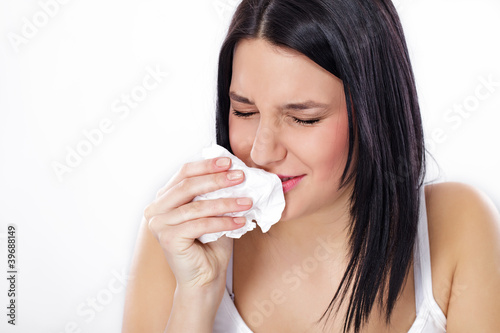 Woman with flu or allergy