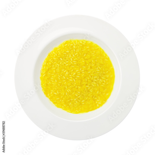 Saffron rice dish isolated on white background