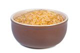 Rice in bowl on white background.