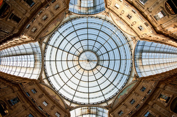 Glass dome of Galleria Vittorio Emanuele II shopping gallery.