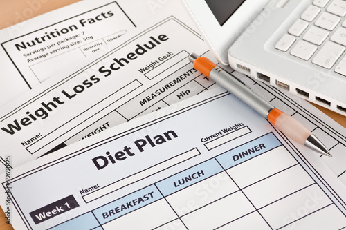 Diet Plan and Weightloss Schedule by Laptop