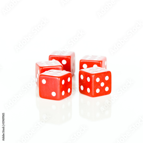 Red dice cubes