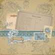 Scrapbook design elements - Vintage Bird and Peony Set