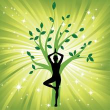 Kvinna i yoga träd asana